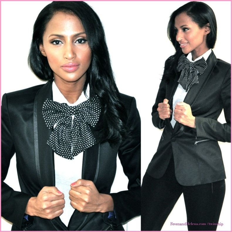 Feven in H&M bow tie and blouse; Guess blazer; Zara black tights; Mac make-up; Essie Lollipop red nail polish