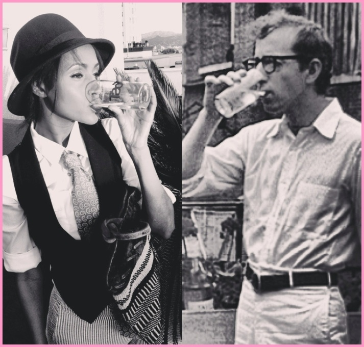 Annie (Helena) and Alvy (Woody Allen) having drinks...he's a bit nervous.