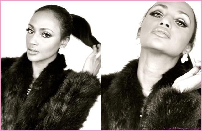 Helena is wearing: American Apparel black & white turtle neck, BB Dakota faux fur coat,  lipstick: Opera Rose YSL