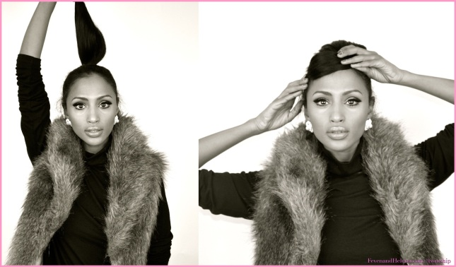 Feven is wearing: American Apparel black turtle neck, BCBG earrings, DNA faux fur vest, Lipstick: Opera Rose YSL