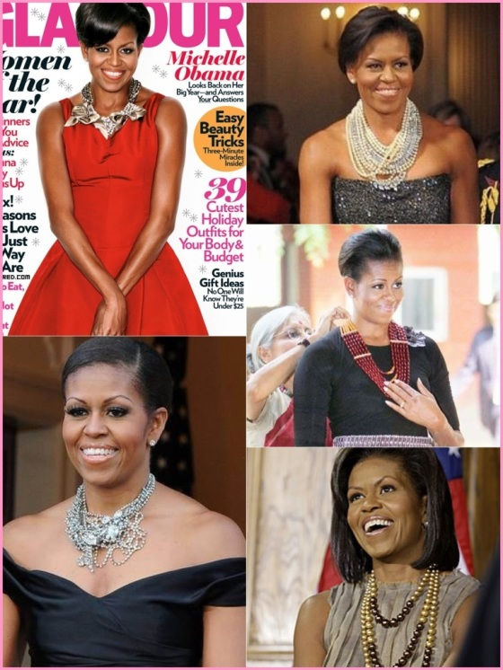 Frist Lady Michelle Obama and her statement necklaces.