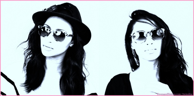 Helena (left), Feven (right) wearing sunglasses at night.
