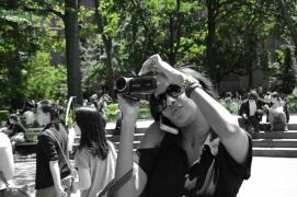 Helena, multitaking in Washington Square Park
