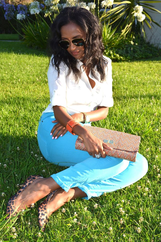 Helena is Wearing... animal print calf flats: DV By Dolce Vita aqua blue denim jeans: Urban Outfitters white button down: H&M sunglasses: Ray-Bans  watch: Michael Kors bracelet: gift from my mom  straw handbag: H&M