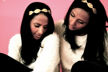 Feven (L), Helena (R) The Twinship is wearing... Gisele for H&M knit sweater $14.95 gold headband: downtown LA