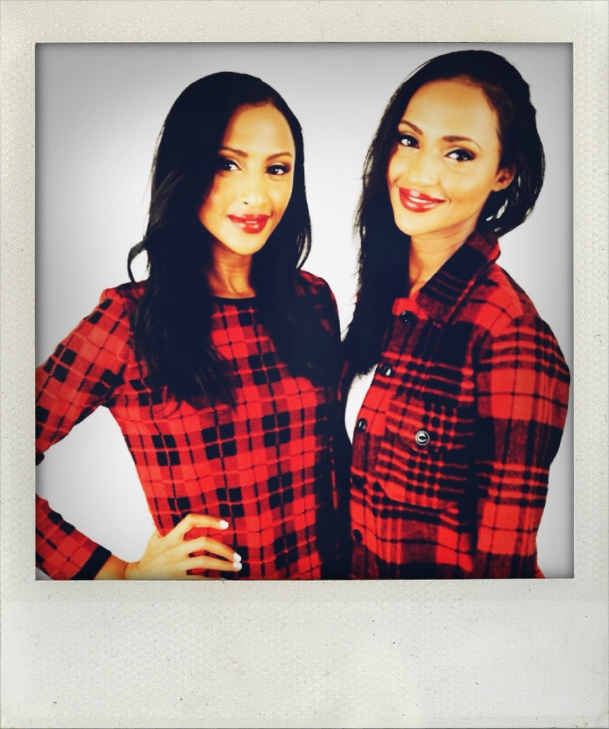 Feven (L) and Helena (R)...red plaid