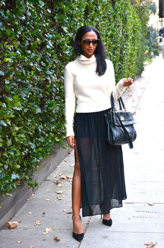 Feven is wearing… sweater: vintage Ralph Lauren skirt: Forever 21 heels: Zara sunglass: Fendi  watch: Michael Kors