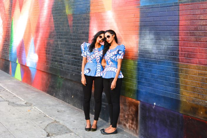 MLK Wall: Feven & Helena Feven & Helena are wearing.... custom peplum top from Ghana (Kumasi) black tights: ZARA shades: TopShop