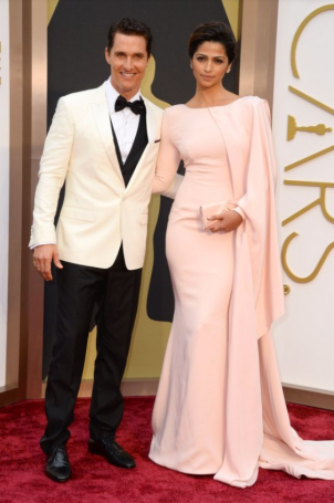 Matthew McConaughey in Dolce & Gabbana and Camila Alves in Gabriella Cadena.