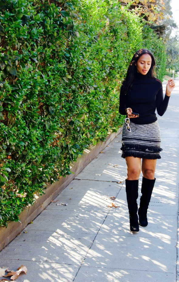 Feven is wearing... VINCE CAMUTO boots ZARA turtle neck H&M skirt