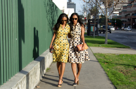 feven (left) Helena (right) wearing DVF inspired dresses.